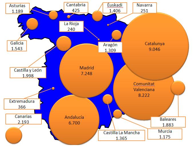 Desahucios en España durante el primer trimestre del 2012.